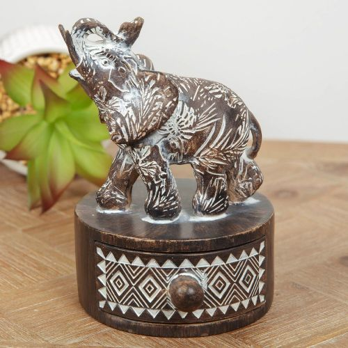 Artisan Elephant Trinket Box With Patterned Ebony Finish Wellbeing Gift for Prosperity